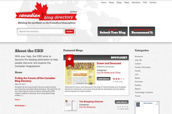 canadian blog directory screenshot