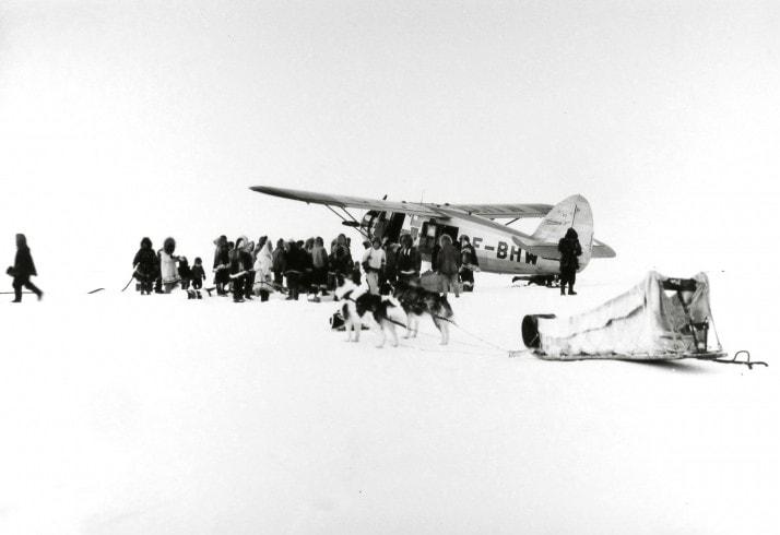 "Richard Harrington, A ""Norseman"" plane arrives in dim arctic light, Coppermine, NWT, 1949, © Estate of Richard Harrington / Courtesy of Stephen Bulger Gallery"