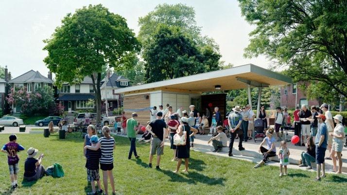 Scott McFarland, Pavilion Ribbon Cutting Ceremony, Jean Sibelius Square Park, June 10, 2012, Toronto, 2013, Archival inkjet type print, Courtesy of the artist
