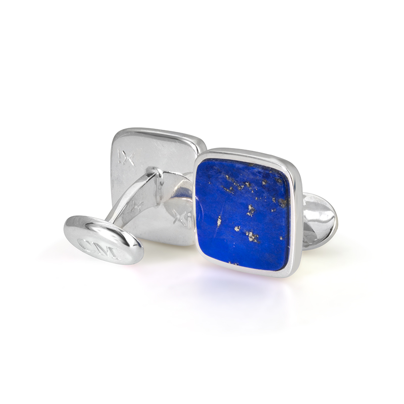 Custom Lapis Lazuli Cufflinks in Sterling Silver