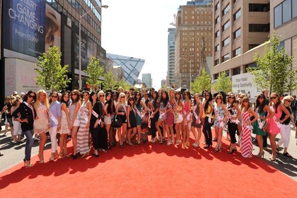 miss universe canada finalists celebrate bloor red carpet toronto