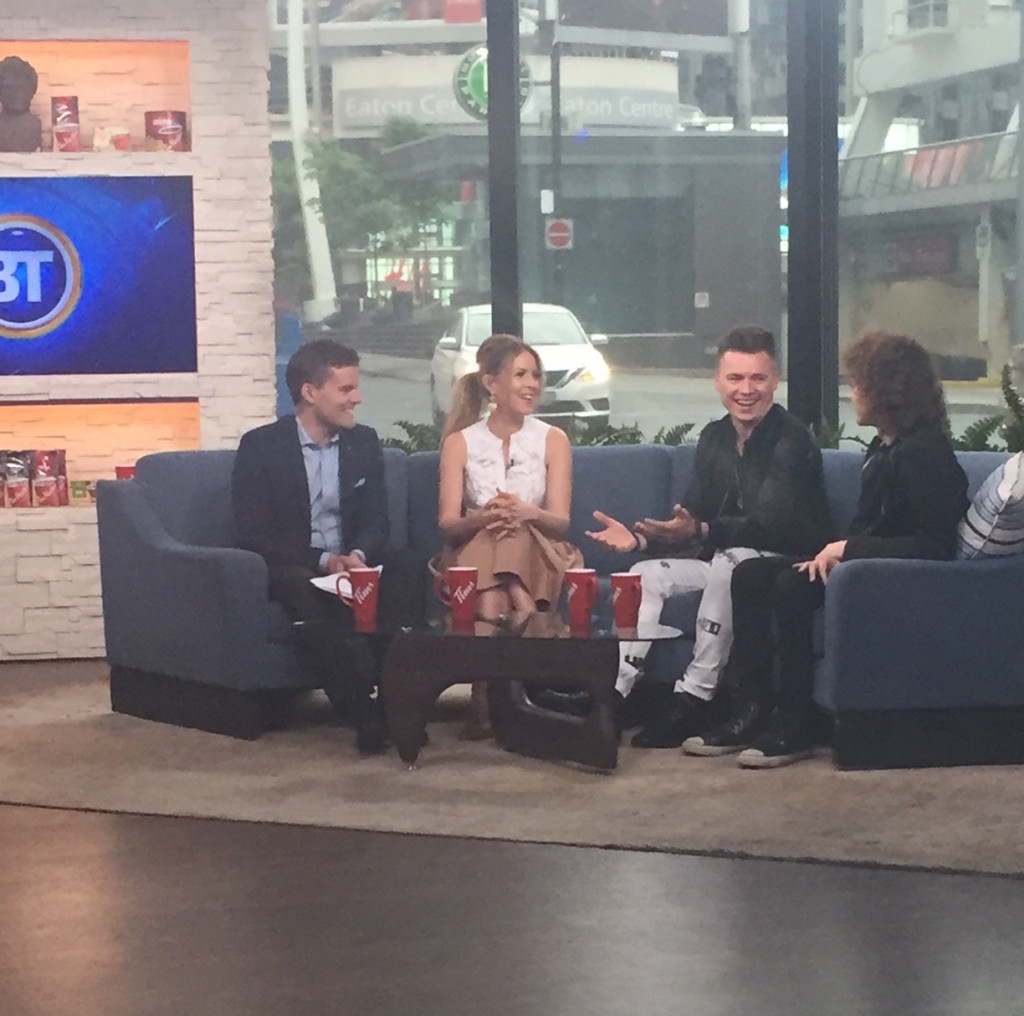 Shawn Hook and Francesco Yates appearing on Breakfast Television to chat about the TD Union Block Party